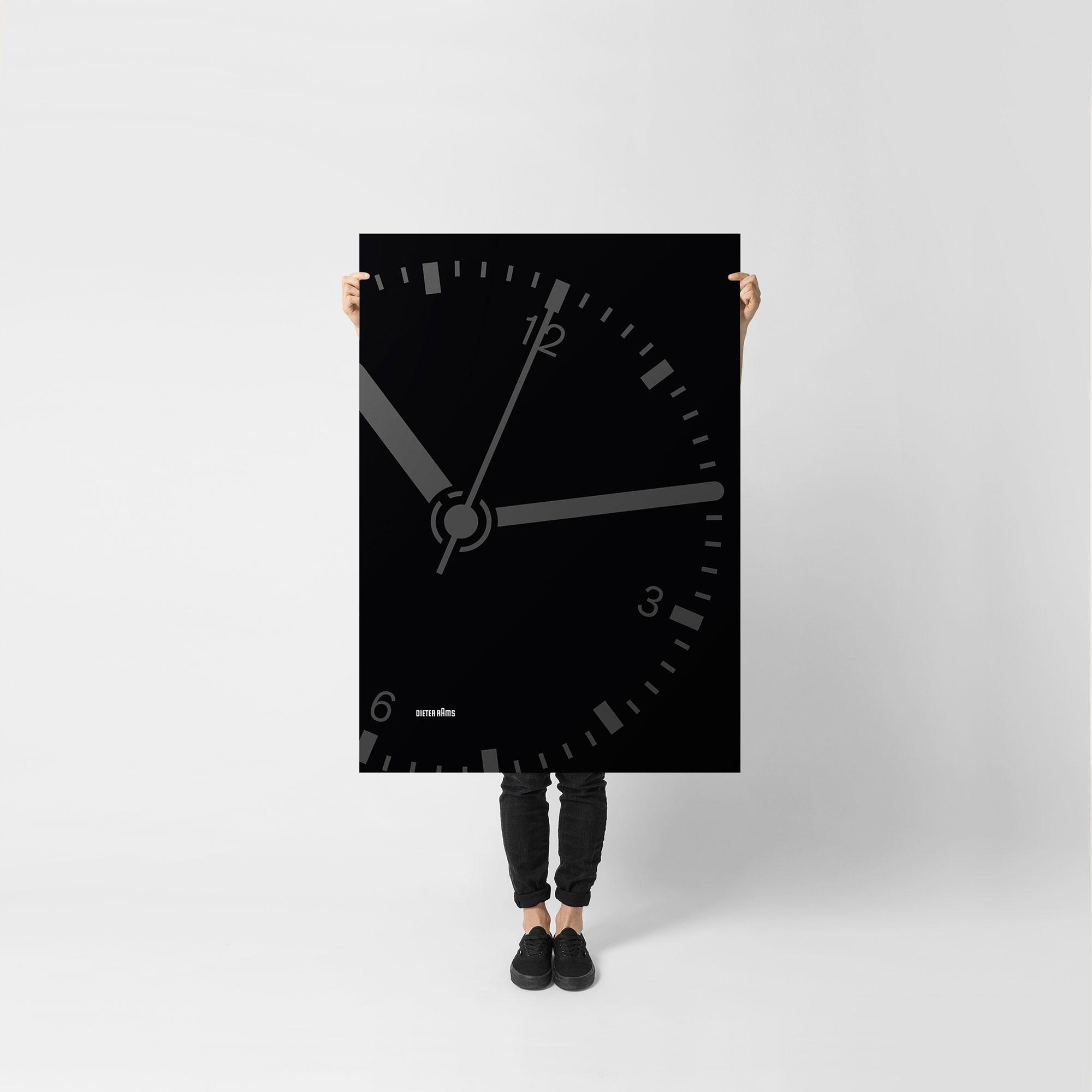 Braun clock by Dieter Rams Illustration Poster Giclée Print