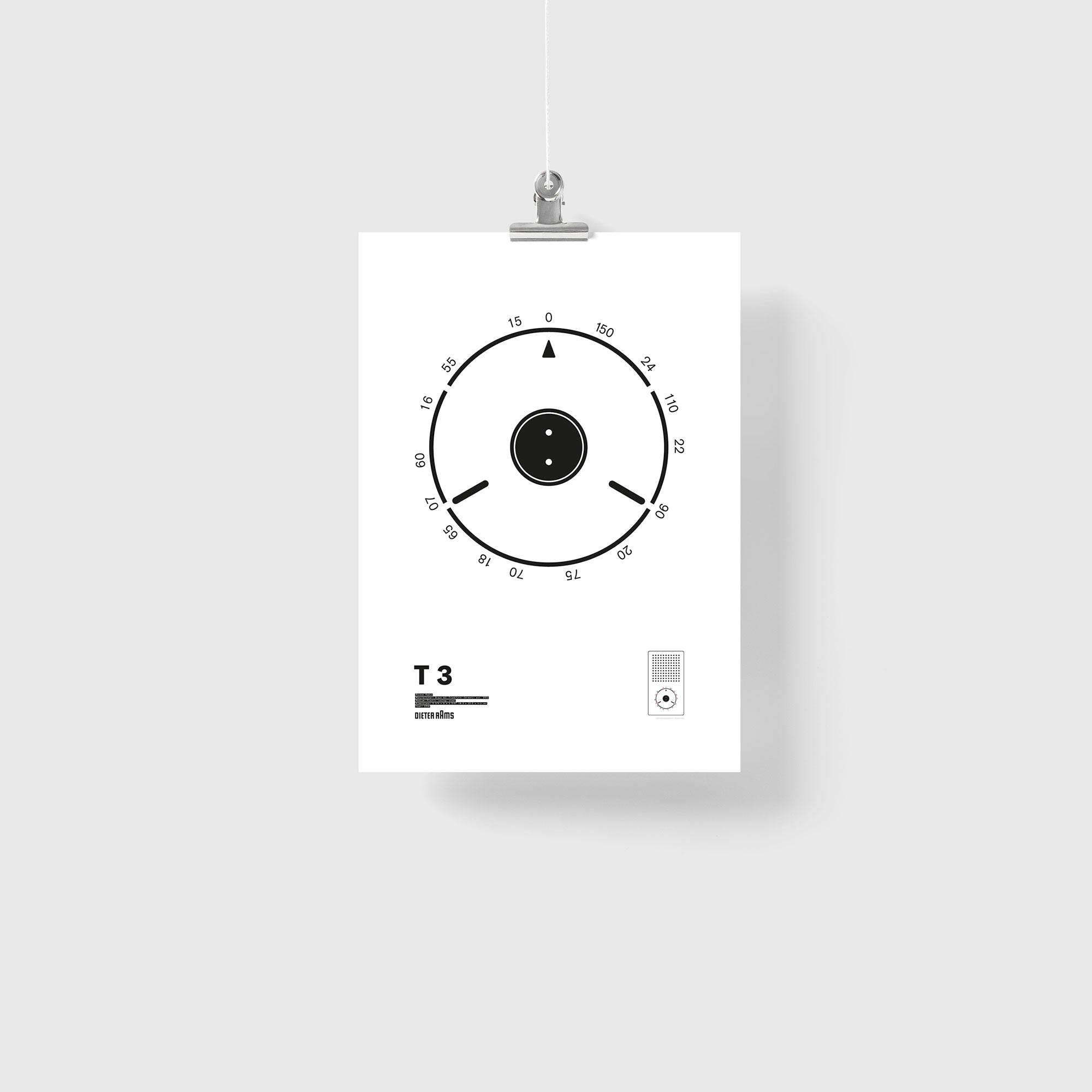 Braun T3 Radio Illustration Poster Giclée Print