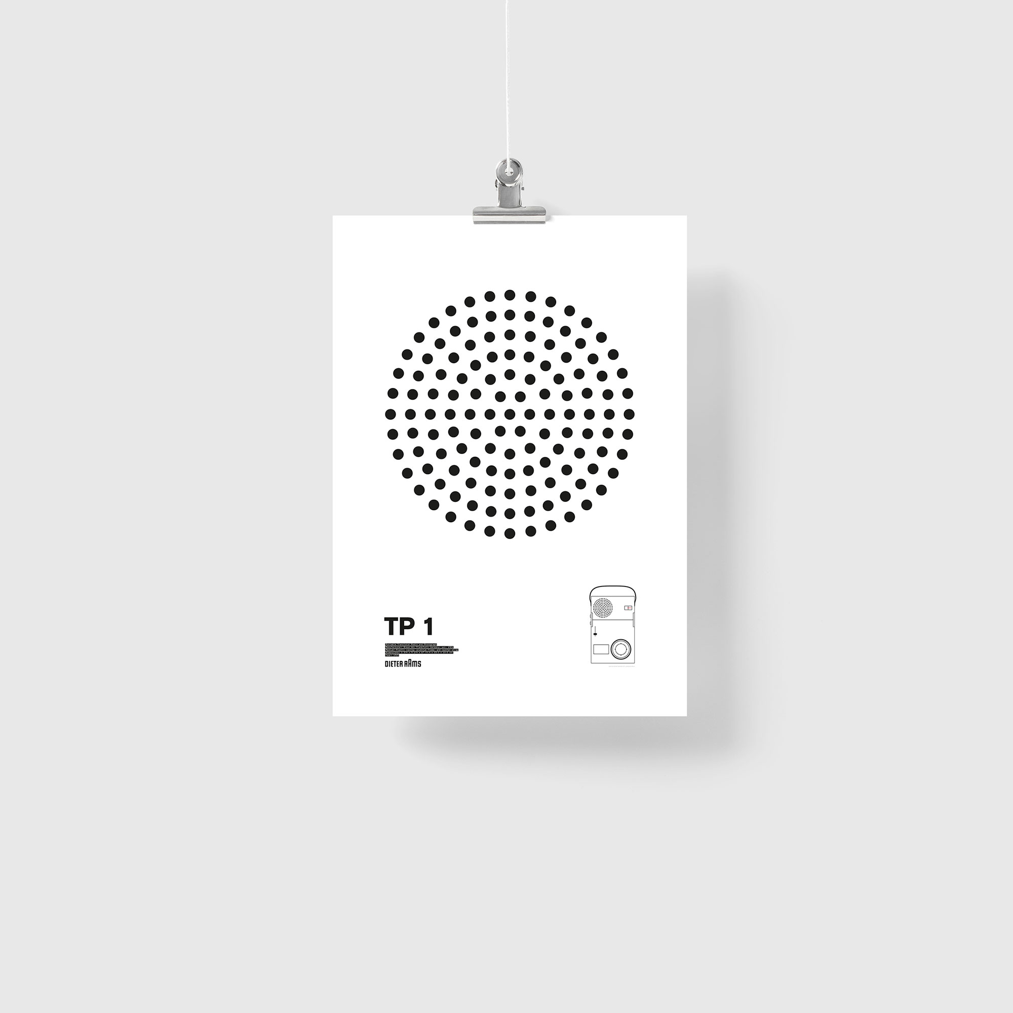 Braun TP1 Portable Transistor Radio and Phonograph Illustration Poster Giclée Print