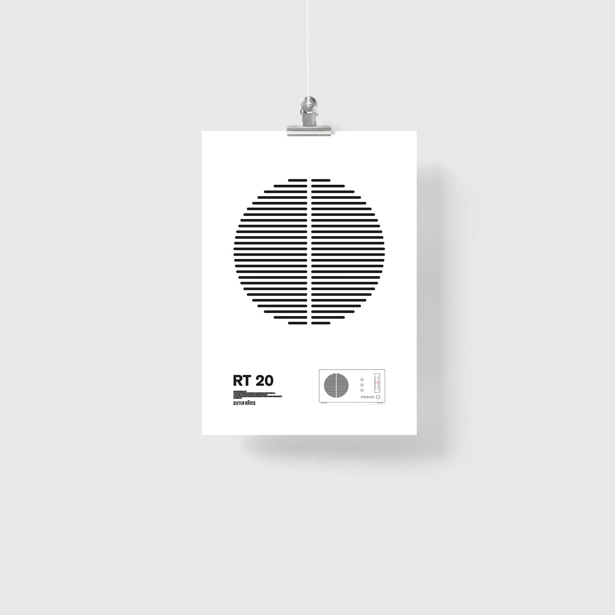 Braun RT20 Radio Illustration Poster Giclée Print