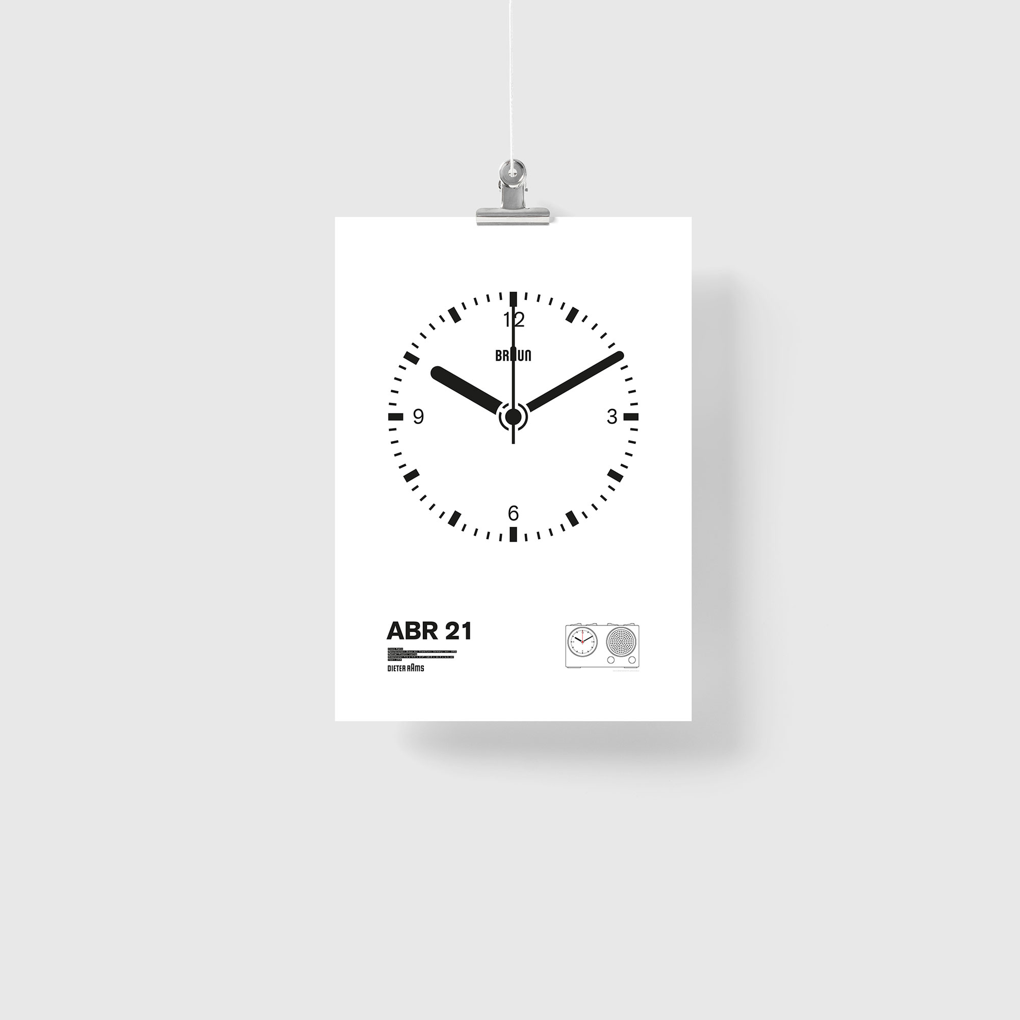 Braun ABR 21 Radio Clock Illustration Poster Giclée Print